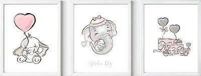 Personalised baby child elephant dumbo name print picture gift nursery wall deco