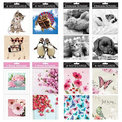 8 Pack Square Message Blank Note Cards Notelets with Envelopes 8 Designs