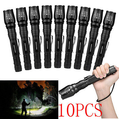 Lot Tactical 990000Lumen 5-mode T6 Zoomable 18650 LED Flashlight Torch Aluminum