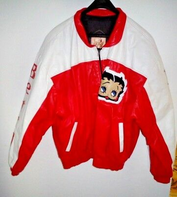 Betty Boop Genuine Leather Bomber Jacket Size X.l.