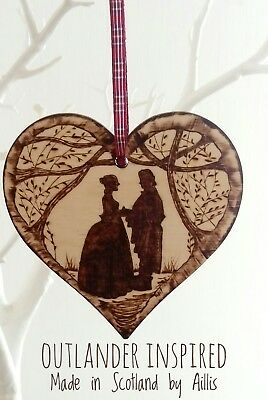 Wooden heart wall plaque decoration 15 cm Outlander Inspired silhouette