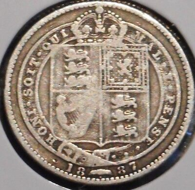 British Silver Shilling - 1887 - Queen Victoria - $1 Unlimited Shipping