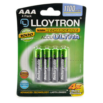 Lloytron Rechargeable Batteries, AAA, Ni-MH, 1100 mAh, 4 Pack, Accuultra