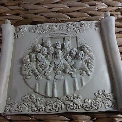 The Last Supper. 3D Tan Resin Religious Jesus Hanging Plaque Wall Art 5x6 in.