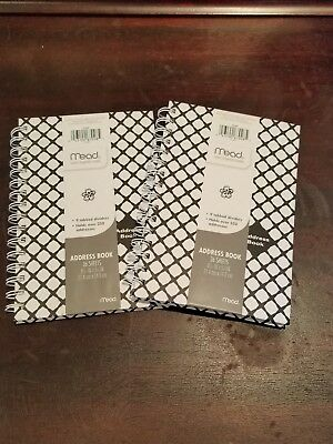"Mead Lot of 2~Address Book, Spiral bound~8"" 7/16 x 5"" 7/8"" black & white design"