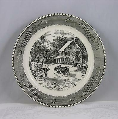 Vintage Royal China Jeannette black and white deep dish pie plate