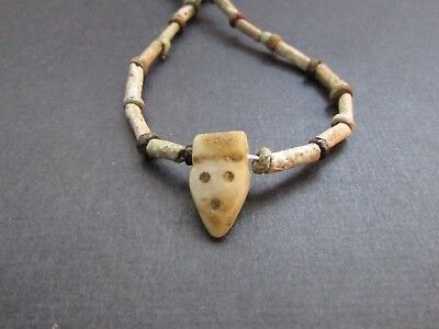 NILE  Ancient Egyptian Face Amulet Mummy Bead Necklace ca 600 BC