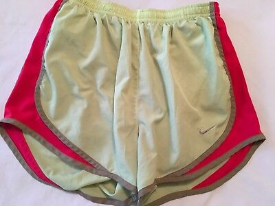 Nike Dri-Fit Green Lined Running Athletic Shorts Red Trim Women's S