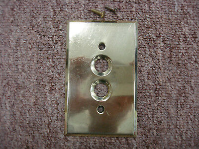 Vintage Brass Push Button Switch Wall Cover Plate Single Gang