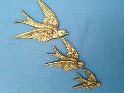 3 Graduated Vintage Brass Wall Hanging Flying Swallows Ducks Well Detailed