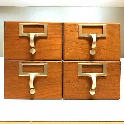 4 Wooden Drawers Card Catalog Library Filing Cabinet Index Vintage Mid Century