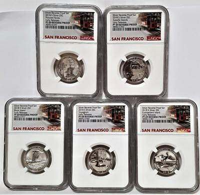 2018-S 25C Silver REVERSE Quarter Set NGC PF69 Early Releases  Trolley Car Label