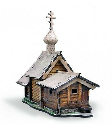Cardboard toy kit. Church of the Resurrection of Lazarus in Kizhi. 3D Puzzle