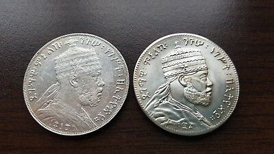 Ethiopia BIRR EE 1889 A - Silver Coin and 1/8 Birr as Medal (NOT FROM SILVER!!!)