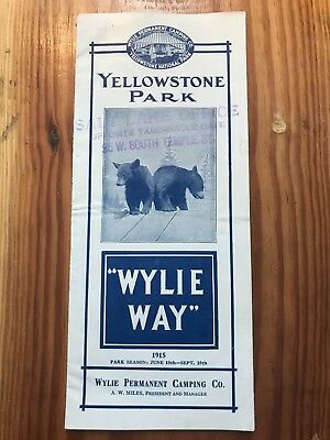 1915 RARE Wylie Way Camping Brochure Yellowstone Park Illustrated