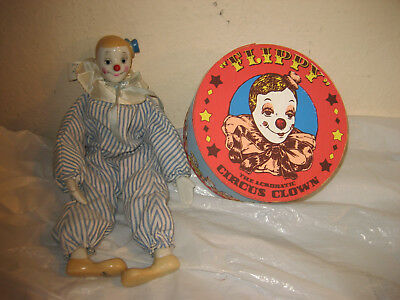 Flippy THE ACROBATIC Circus Clown 1983 Enesco PORCELAIN CLOTH with WOOD BOX