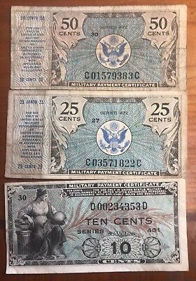 50, 25 and 10 cent military payment certificates