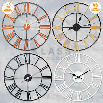 Large Traditional Skeleton Garden Wall Clock Roman Numeral Open Face Metal Round