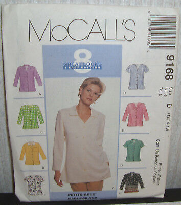 9168 Uncut Mccall S Sewing Pattern For Misses Blouses Shirts Tops