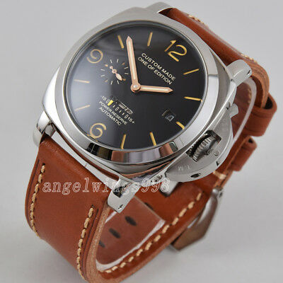 Gold mov't power reserve 47mm parnis seagull automatic watch date polished case