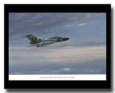 Gloster Javelin FAW7 delta wing fighter RAF 33 Squadron framed picture Harold