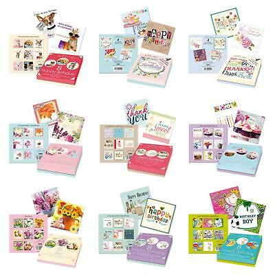 4 / 5 / 8 Pack of Cards Birthday Thank you Occasion Blank in Keppesake box
