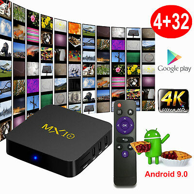 MX10 4K Android 9.0 Pie 4+32G Smart TV BOX Quad Core USB 3.0 HDMI 2.0 3D Movies