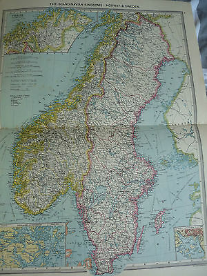 1900/1908 ANTIQUE MAP OF  NORWAY AND SWEDEN Harmsworth Universal