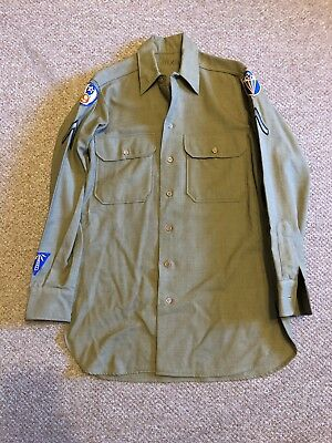 WWII WW2 US Army Air Corps 9th Air Force Patched Wool Shirt Uniform