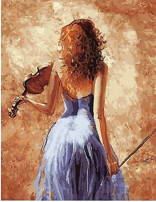 VIOLIN LADY ABSTRACT PAINT BY NUMBERS CANVAS PAINTING KIT 20 x 16 ins FRAMELESS