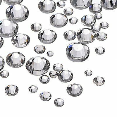 Outus 1000 Pieces Clear Flat Back Rhinestones Round Crystal Gems 1.5 mm - 5 m...