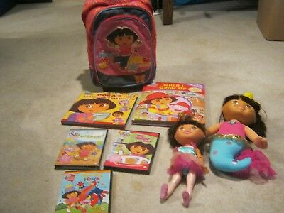 Lot Of Dora The Explorer Items, Dolls, Phone, And A Game