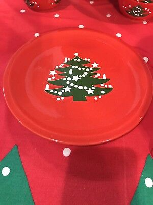 "1 Waechtersbach Christmas Tree Red 10"" Dinner Plate, Small Chip Or Flaw"