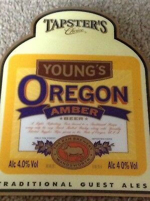 Vintage Original Youngs Oregon ale Beer Pump Clip On Badge/Sign