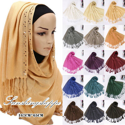 Muslim Women Glitter Long Hijab Shawl Scarf Tassel Scarves Stole Arab Head Wrap