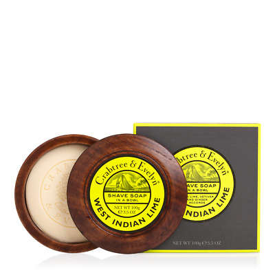 New Boxed 100g Crabtree & Evelyn's West Indian Lime Shave soap & teakwood bowl,