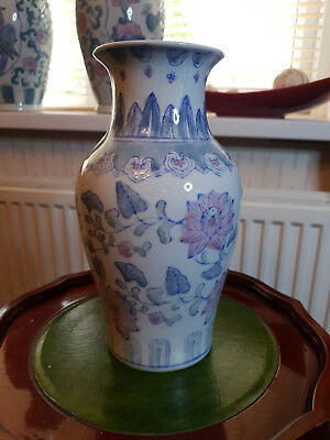 """vintage hand painted porcelain oriental chinese vase,floral pattern,10""""tall."""