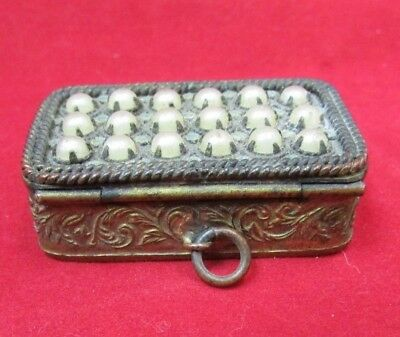 Lovely Vintage Brass Compact w/ Faux Pearls
