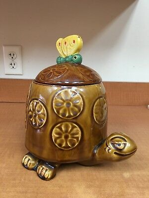 Vintage McCoy Timothy The Turtle Cookie Jar  With Yellow Butterfly And Daisies