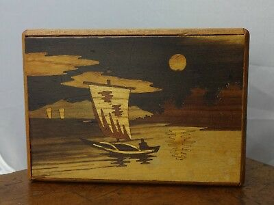 Antique Or Vintage Old Japanese Wood 2 Step Puzzle Box Boat Fishing Scene