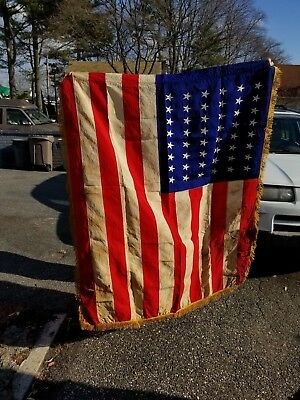American silk embroidered 48 star flag with fringe