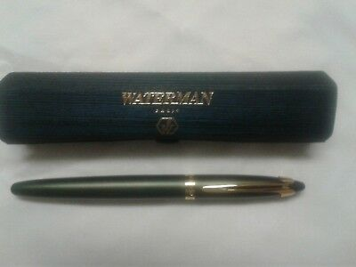 Ladies Waterman Roller Ball Pen, Green Pen W/ Gold Trim, With Blue Purse Case