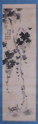 "Large Antique Japanese Hand Painted Silk Scroll ""grape Vines With Crab"" No Resv"