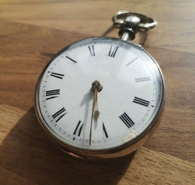 Lovely 1847 Solid Silver Pair Case Verge Fusee Pocket Watch