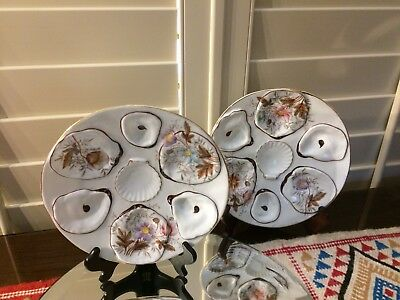 Antique Pair Of Floral Porcelain China Oyster Plates (2) Unmarked Seafood Dishes