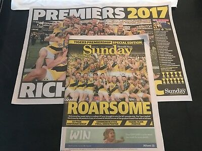 Herald Sun Special Edition - Richmond Tigers 2017 AFL Premiers incl. Posters