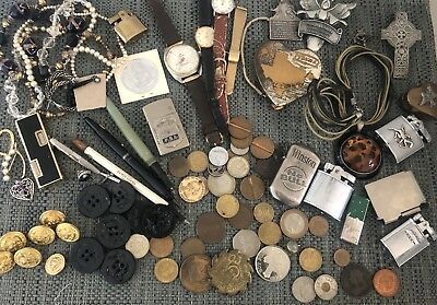 Huge Vintage Junk Drawer Lot Watches Coins Pens Military Tokens Lighters Jewelry
