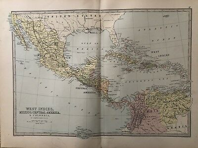 1885 West Indies Central America  Mexico Map By Bartholomew & George Philip