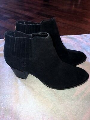 1e0728966b4 STEVE MADDEN BLACK Short Ankle Booties Suede Size 8.5