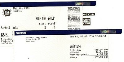 Ticket BLUE MAN GROUP Köln - Musical Dome - 25.12.2018 - 18:30 Uhr - Parkett